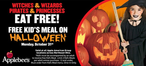 stop into applebees on halloween and kids receive a free meal